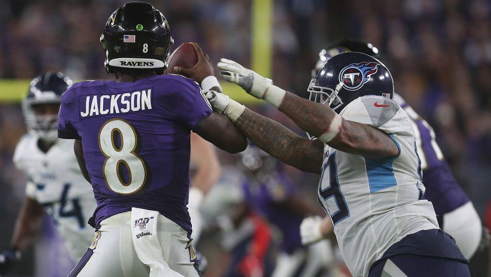 Lamar Jackson: Gegen die Titans ungewohnt uneffektiv. - Bildquelle: imago images/ZUMA Press