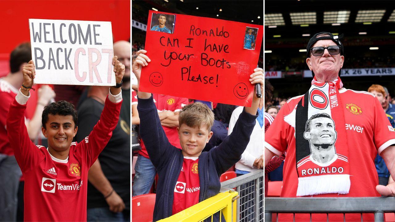 Ronaldo-Mania in Old Trafford: Trikots, Schals und Plakate - Bildquelle: Imago Images/Getty Images
