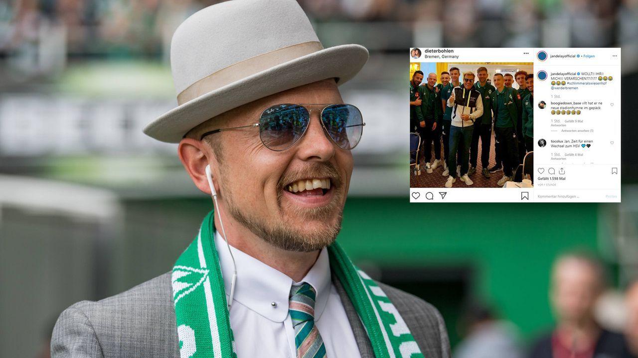Jan Delay macht sich über Bohlen-Foto mit Werder lustig - Bildquelle: imago