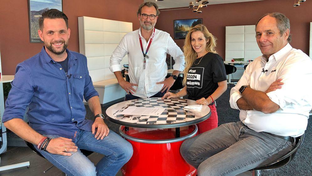 Das ranRacing-Team freut sich mit Gerhard Berger auf die Zukunft - Bildquelle: ran/Alexander Rösner