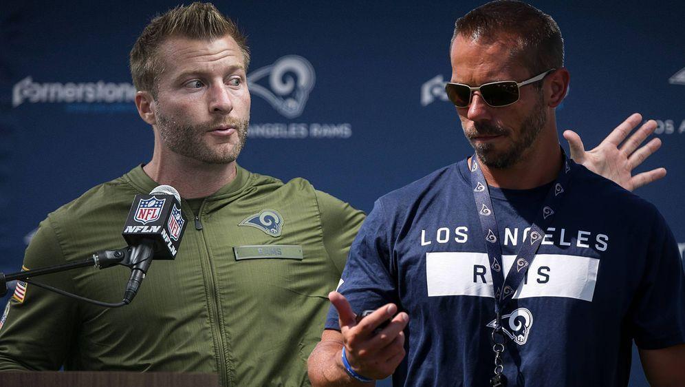 Der Head Coach der Los Angeles Rams und sein Schattenmann: Sean McVay (l.) k... - Bildquelle: imago