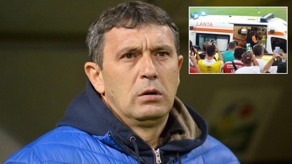 Dinamo-Coach EugenNeagoe kollabierte während des Heimspiels gegenUniversit... - Bildquelle: Imago/twitter@Emishor