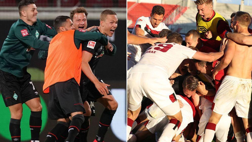 So sehen Sieger aus: Werder Bremen (l.) und der 1. FC Nürnberg haben jeweils... - Bildquelle: imago