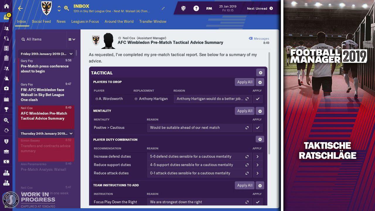Taktischer Report vor dem Spiel - Bildquelle: Twitter @FootballManager / SEGA