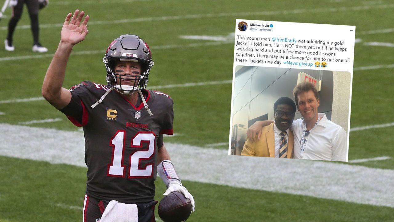 NFL-Legende Michael Irvin veräppelt Bucs-Quarterback Tom Brady - Bildquelle: Imago Images/twitter.com @michaelrivin88
