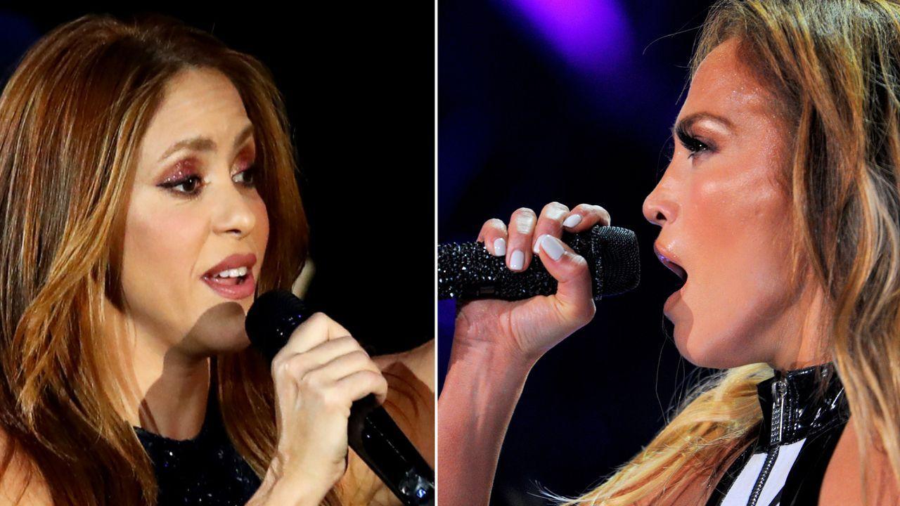 Shakira und J.Lo werden beim Playback ertappt - Bildquelle: Getty