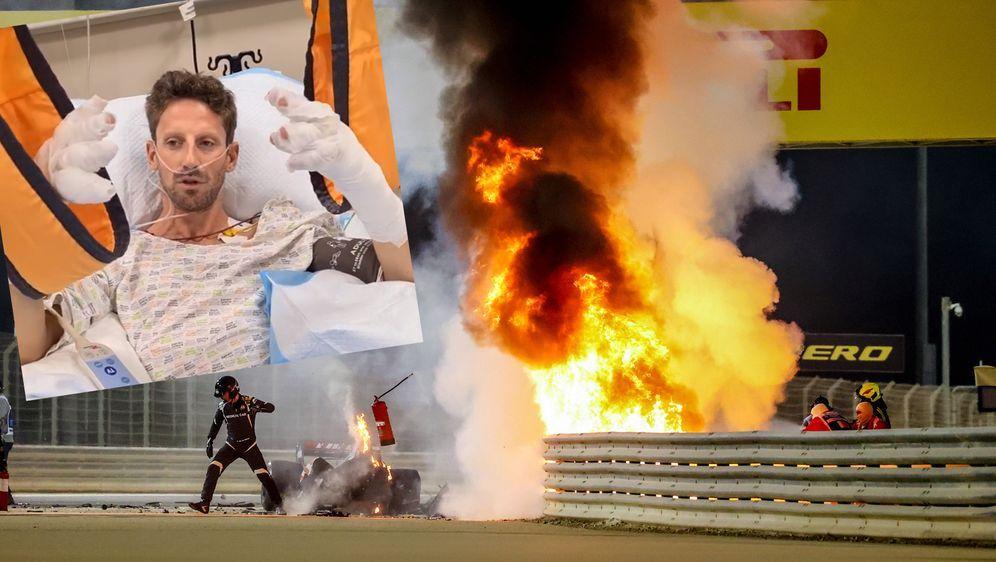 Nach seinem Crash meldete sich Romain Grosjean per Videobotschaft aus dem KR... - Bildquelle: Getty Images/Instagram@grosjeanromain