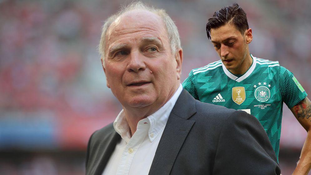 Herbe Kritik: Uli Hoeneß nimmt sich Mesut Özil (r.) vor - Bildquelle: Getty Images