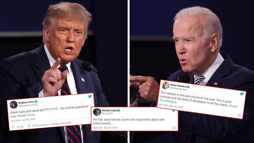 US-Sportler reagieren auf die TV-Debatte zwischen Donald Trump (l.) und Joe ...