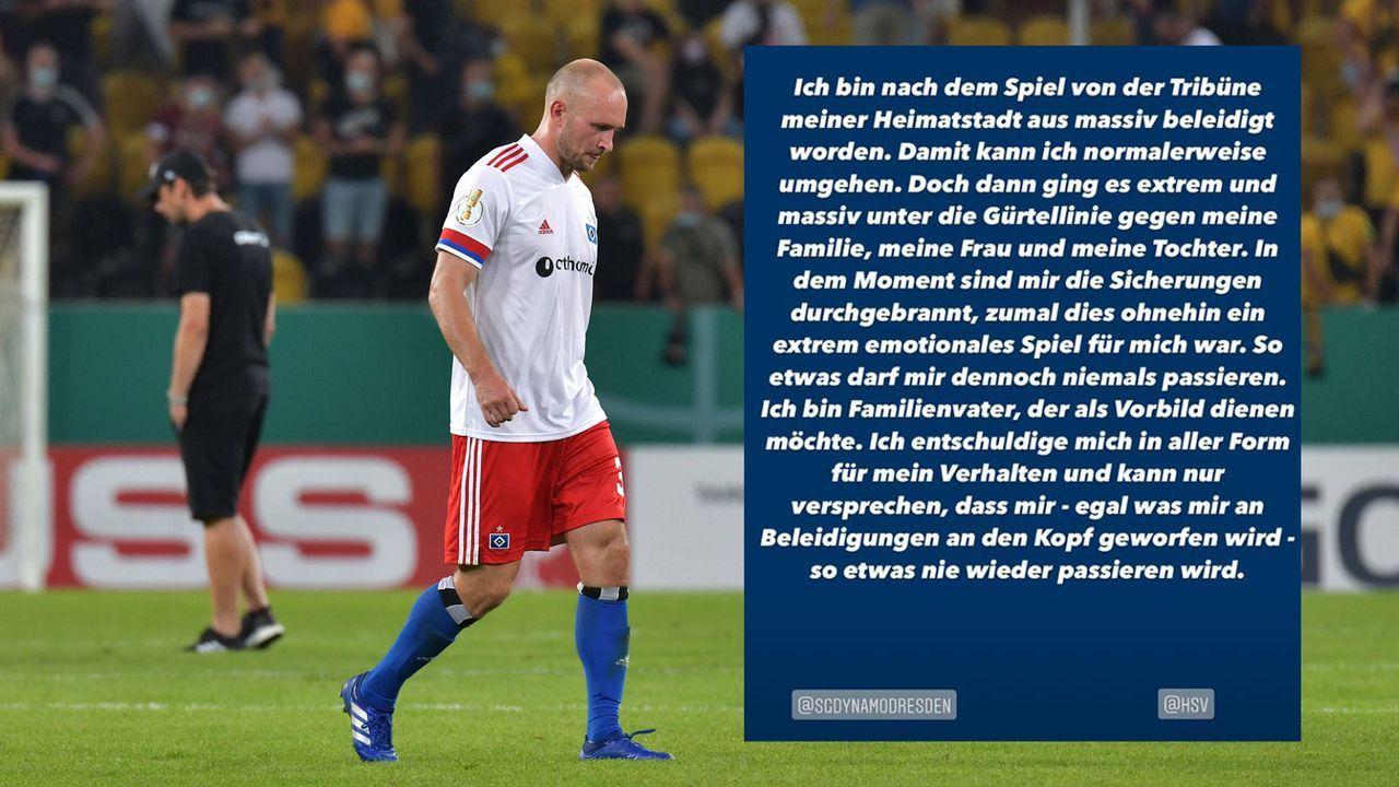 Toni Leistner entschuldigt sich Ausraster nach Pokalspiel - Bildquelle: imago images/instagram.com/tleistner37