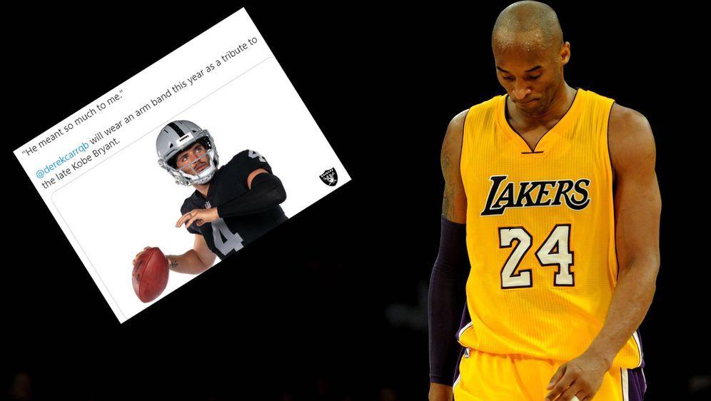 Derek Carr wird Kobe Bryant in der bevorstehenden Saison mit einem Arm Sleev... - Bildquelle: imago / Screenshot: twitter @Raiders