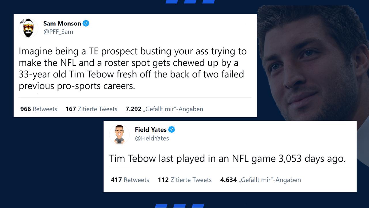 Netzraktionen auf das Tebow Comeback - Bildquelle: Twitter/@PFF_Sam/@FieldYates