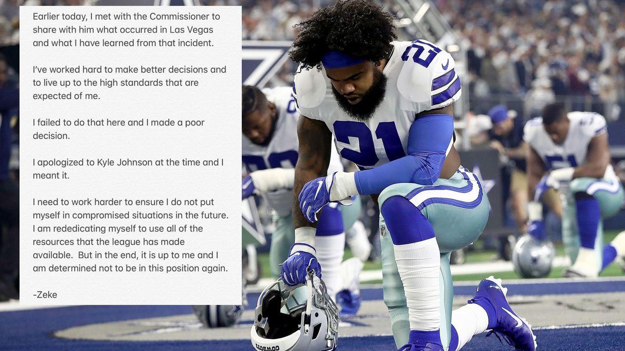Ezekiel Elliott reagiert nach Treffen mit NFL-Boss Roger Goodell - Bildquelle: Getty Images, Twitter/@EzekielElliott