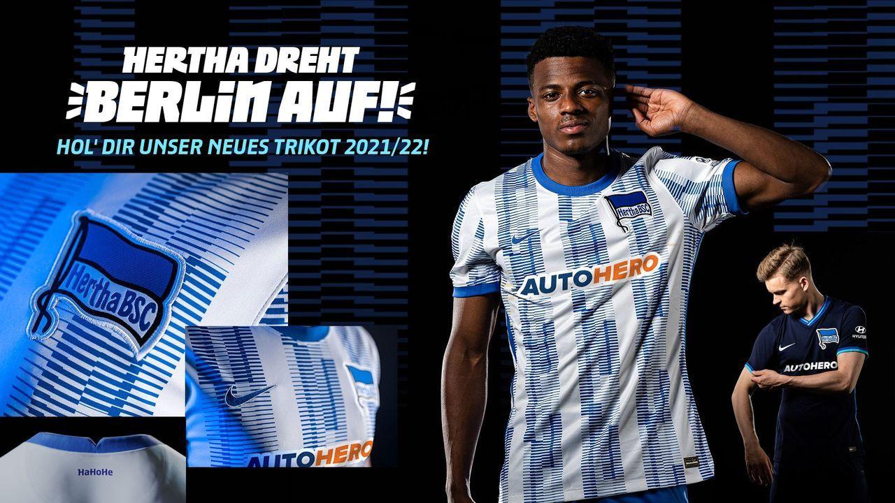 Hertha BSC: Überwiegend weiß, mit modernen blauen Streifen - Bildquelle: Hertha BSC