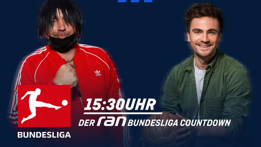 Max Zielke (r.) empfängt im ran Bundesliga Countdown Schlager-Star Ikke Hüft... - Bildquelle: ran.de
