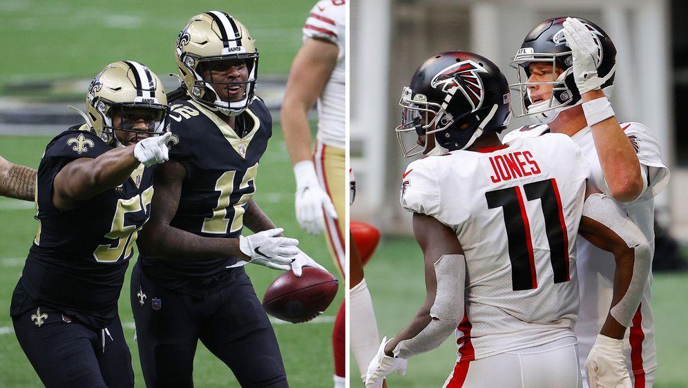 Die starke Saints-Defense will am Sonntag auch die Offense der Falcons stopp... - Bildquelle: Getty images