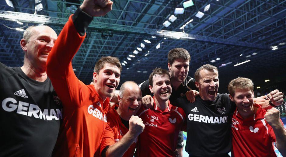 Timo Boll, Dimitrij Ovtcharov, Bastian Steeger - Bildquelle: 2016 Getty Images