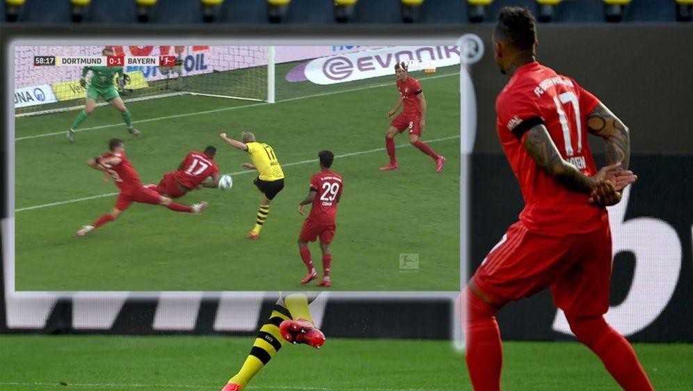 Erling Haaland schiweßt Jerome Boateng an den Ellenbogen. - Bildquelle: Getty Images/Twitter: @betconnect