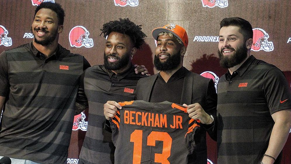 Myles Garrett, Jarvis Landry, Odell Beckham Jr. und Baker Mayfield (v. li.) ... - Bildquelle: Twitter/@Browns