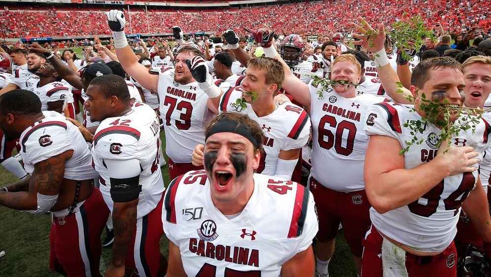 Die South Carolina Gamecocks bejubeln ihren Sieg. - Bildquelle: 2019 Getty Images