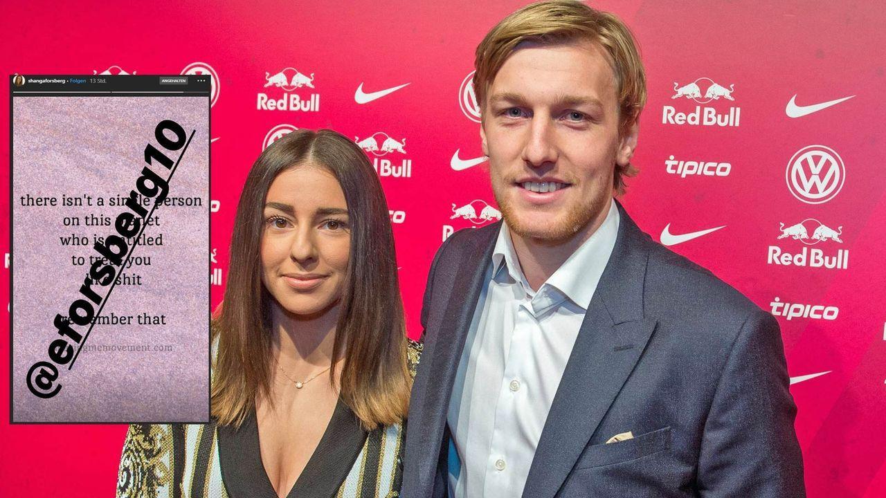Shanga Forsberg (l.), Frau von RB Leipzig-Star Emil Forsberg (r.), stänkert gegen Julian Nagelsmann - Bildquelle: getty