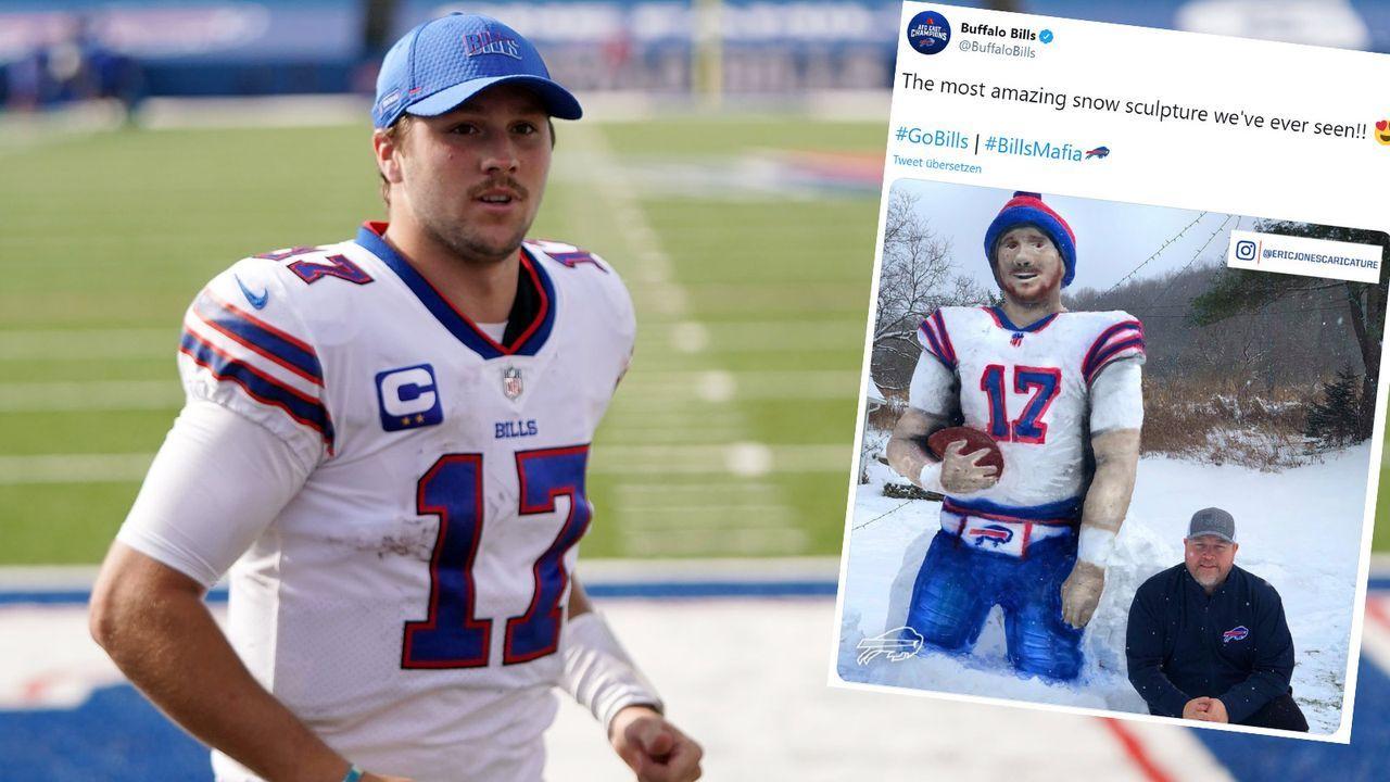 """Frostiges Kunstwerk: Bills-Fan """"verewigt"""" Josh Allen in Schnee - Bildquelle: Getty Images/twitter.com/BuffaloBills"""