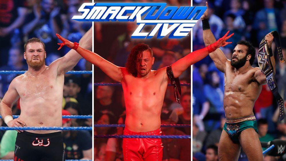 Die Superstars von WWE Smackdown: Sami Zayn (li.), Shinsuke Nakamura (mi.) u...