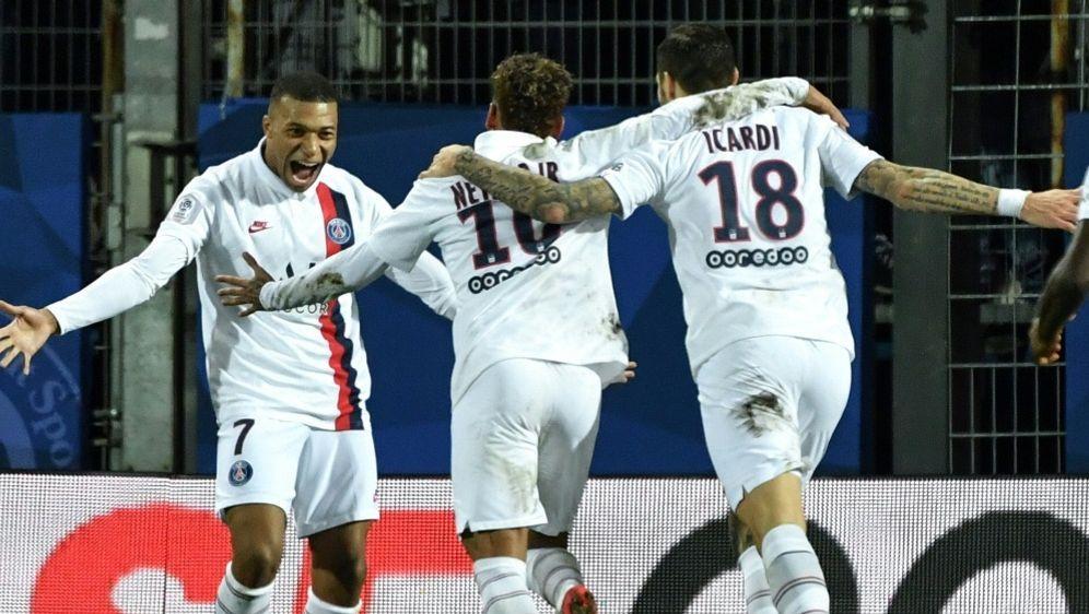 Mbappe, Neymar und Icardi (v.l.) treffen für Paris - Bildquelle: AFPSIDPascal GUYOT