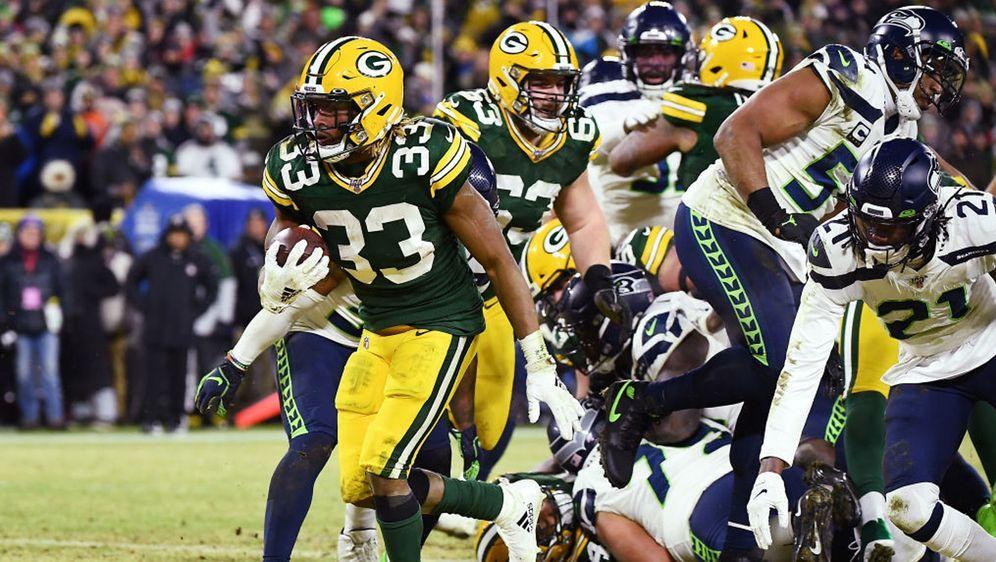 Aaron Jones und die Green Bay Packers liefen gegen die Seattle Seahawks in d... - Bildquelle: 2020 Getty Images