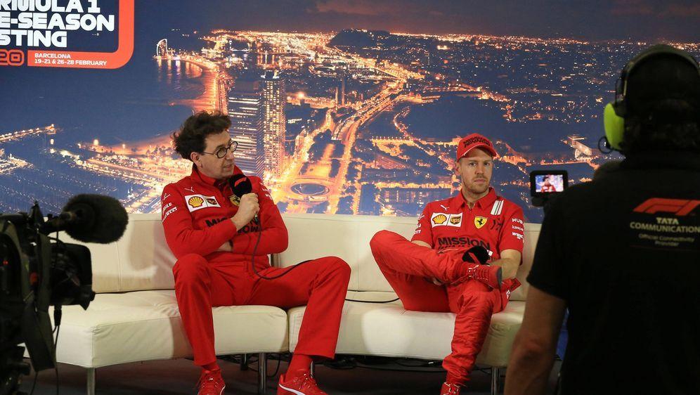 Sebastian Vettel (r.) und Mattia Binotto (l.) erlebten ein Fiasko im Qualify... - Bildquelle: imago