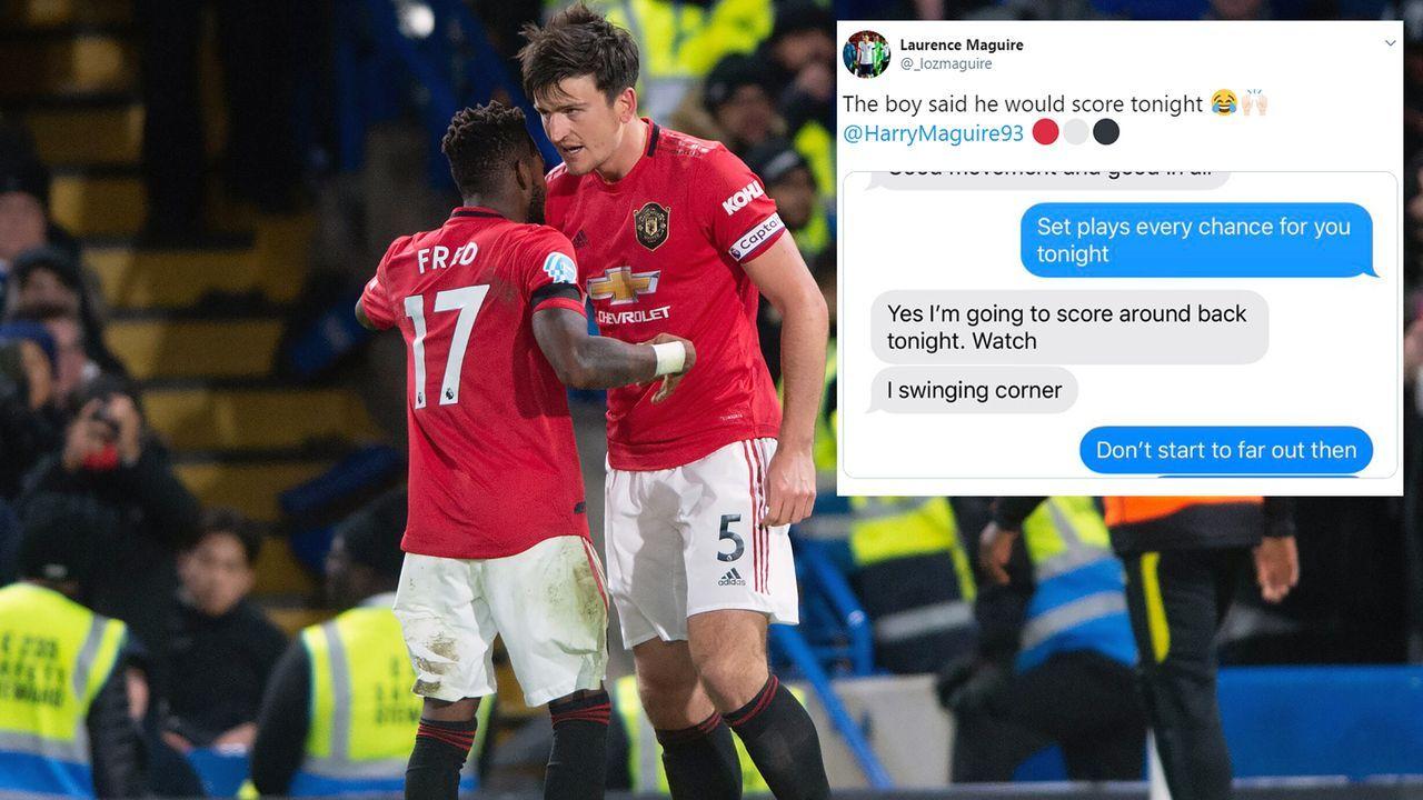 United-Star Harry Maguire kündigt Tor via Whatsapp an - Bildquelle: Imago/twitter@_lozmaguire