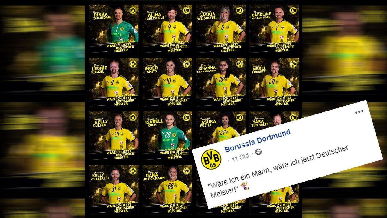 """""""Wäre ich ein Mann, ..."""": BVB-Handballerinnen mit Meister-Protest - Bildquelle: facebook@bvb"""
