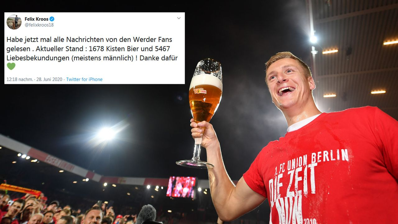 Felix Kroos zieht nach Bremer Abstiegskrimi Bierbilanz - Bildquelle: Getty Images, Twitter/felixkroos18