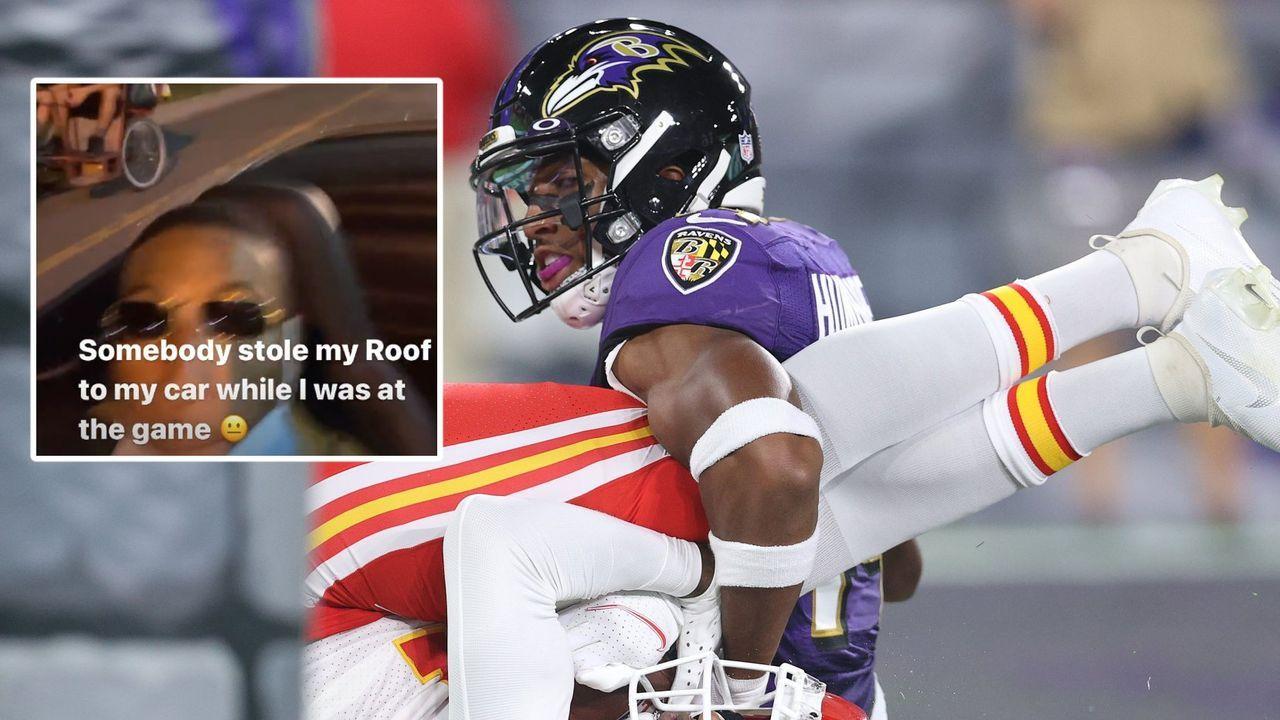 """""""Dach geklaut"""": Ravens-Star erlebt böse Überraschung nach Chiefs-Spiel - Bildquelle: getty/instagram: @marlon_humphrey"""