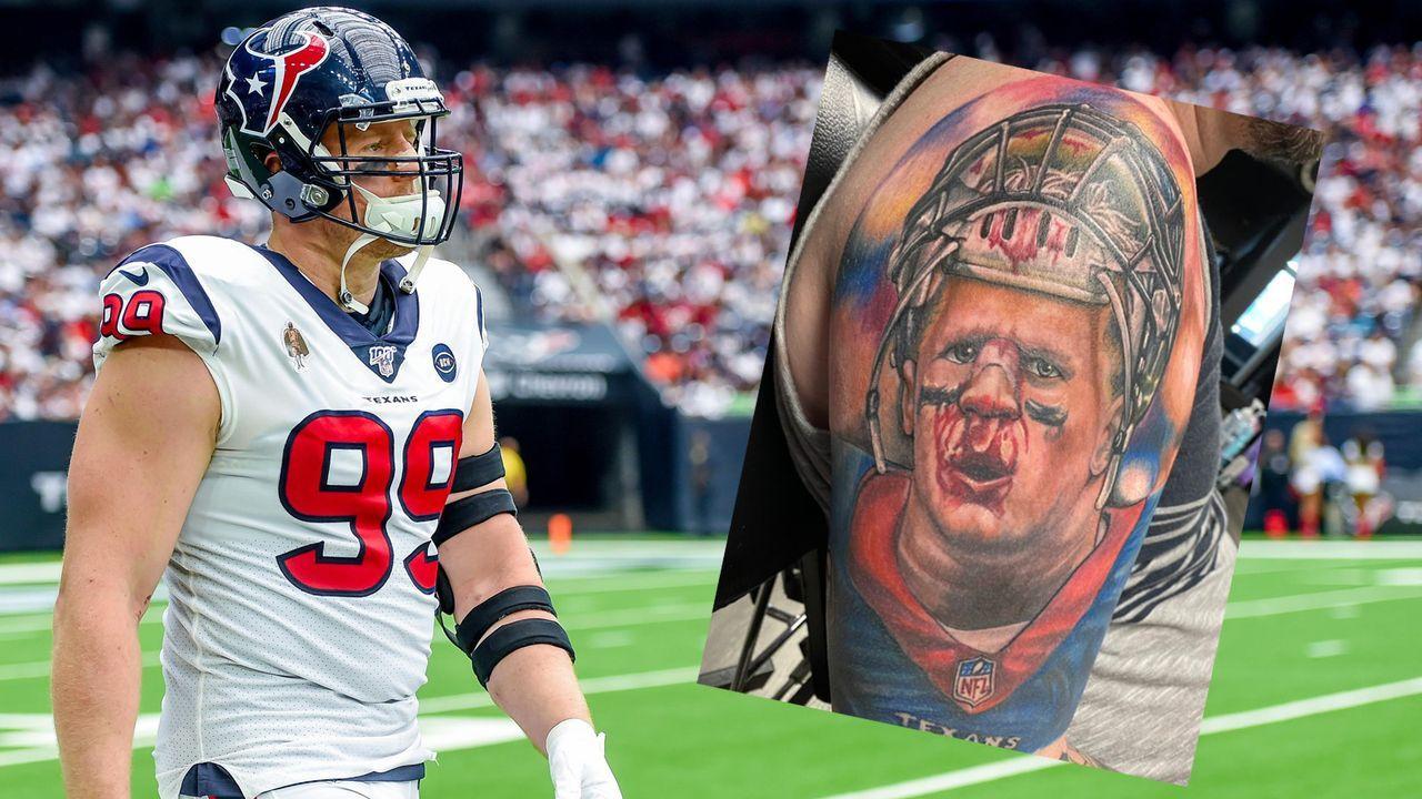 Texans-Fan verewigt J.J. Watt auf seinem Arm - Bildquelle: imago images / Icon SMI /Screenshot: twitter @grizwald75