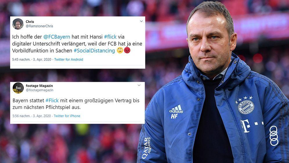 Hansi Flick verlängerte seinen Vertrag beim FC Bayern München bis 2023. - Bildquelle: Getty Images/twitter@RamstonerChris/twitter@footagemagazin