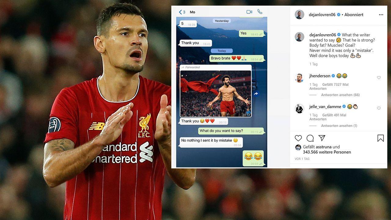 """""""What the writer wanted to say?"""" Dejan Lovren trollt Mitspieler Mohamed Salah - Bildquelle: Imago/instagram@dejanlovren06"""