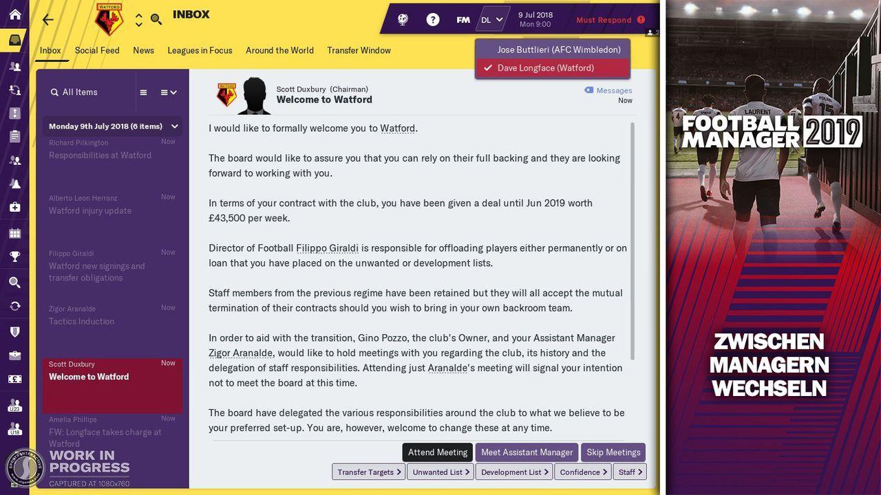 Manager ohne Probleme wechseln - Bildquelle: Twitter @FootballManager / SEGA