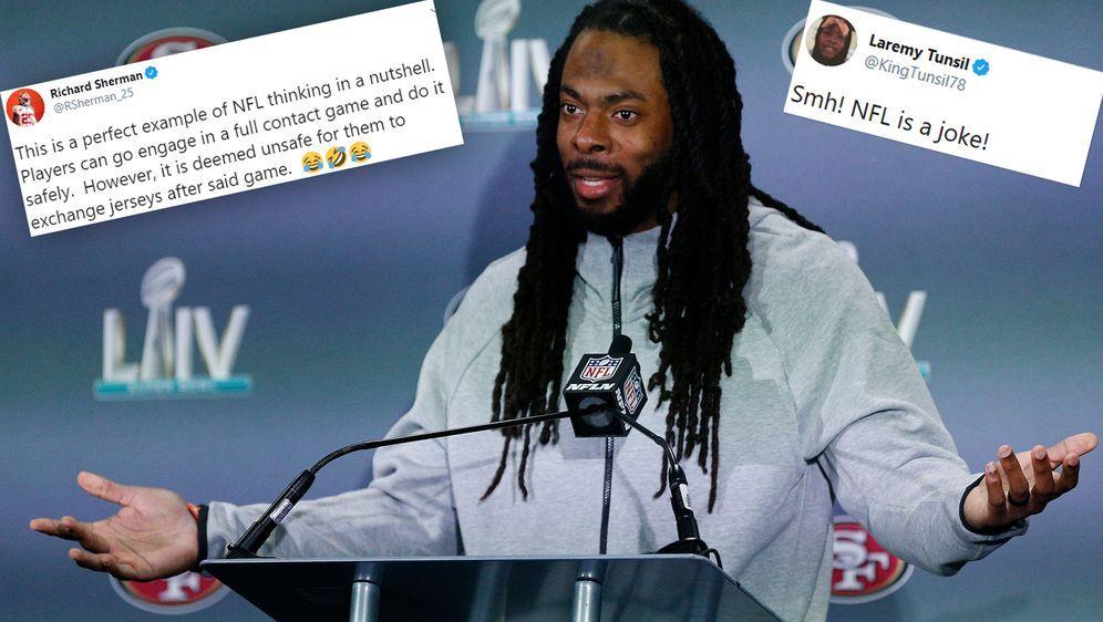 Spieler wie Richard Sherman (Foto) oder Laremy Tunsil kritisieren das neue N... - Bildquelle: Getty Images/Twitter@RSherman_25/Twitter@KingTunsil78