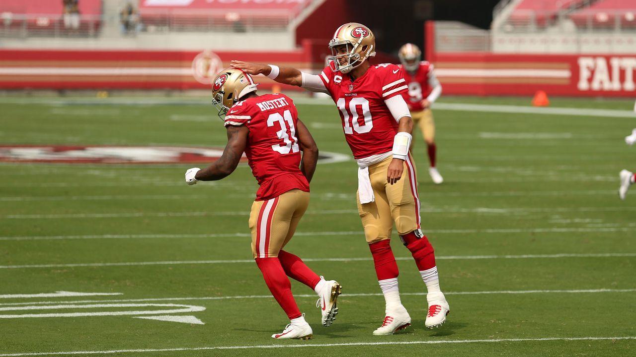 Jimmy Garoppolo und Raheem Mostert (San Francisco 49ers) - Bildquelle: Getty