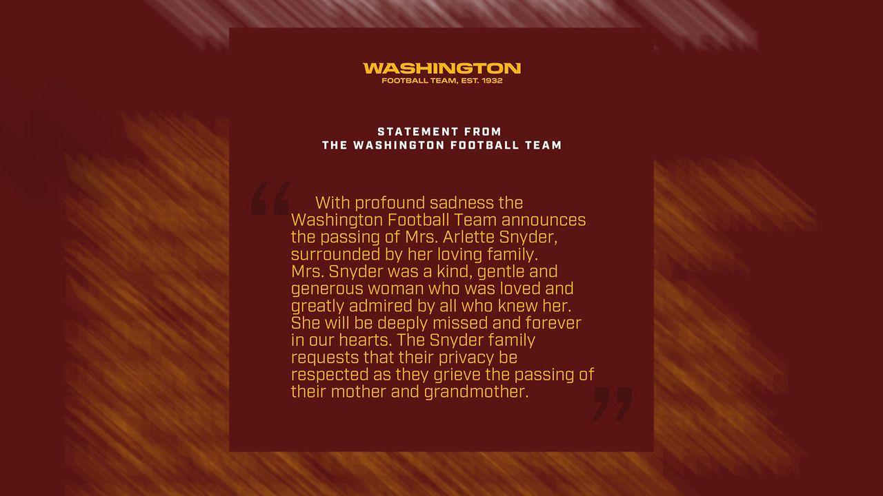 Washington Football Team trauert um Mutter von Besitzer Dan Snyder - Bildquelle: twitter.com/WashingtonNFL