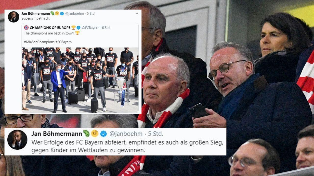Beginn der Verschmähung am Abend nach dem Champions-League-Sieg - Bildquelle: Imago/Twitter:Jan Böhmermann