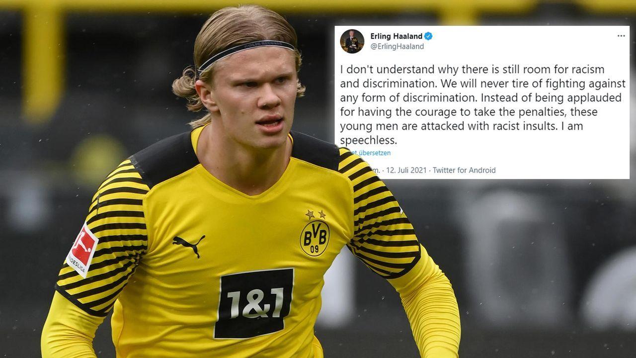 Nach Rassismus-Attacken gegen England Youngster: Haaland schickt starke Botschaft - Bildquelle: getty/twitter