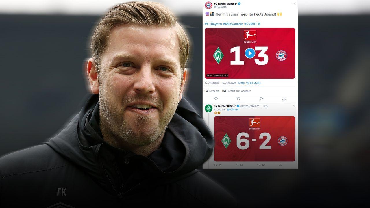 Werder verhohnepipelt Bayern - Bildquelle: Twitter qFCBayern / Getty Images