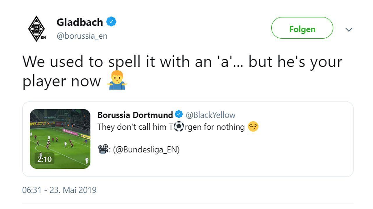 Gladbach veräppelt BVB für Twitter-Fail um Neuzugang Thorgan Hazard - Bildquelle: twitter@borussia_en/twitter@BlackYellow