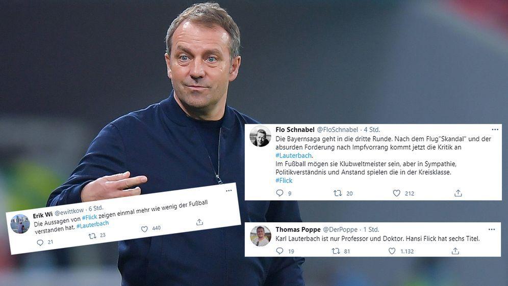 Bayern-Trainer Hansi Flick sorgte mit seinen Äußerungen über den Corona-Expe... - Bildquelle: Imago/twitter@ewittkow/twitter@FloSchnabel/twitter@DerPoppe