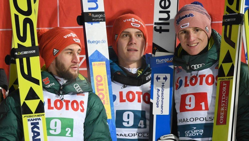 Markus Eisenbichler,Stephan Leyhe und Karl Geiger nur 5. - Bildquelle: AFPSIDJANEK SKARZYNSKI