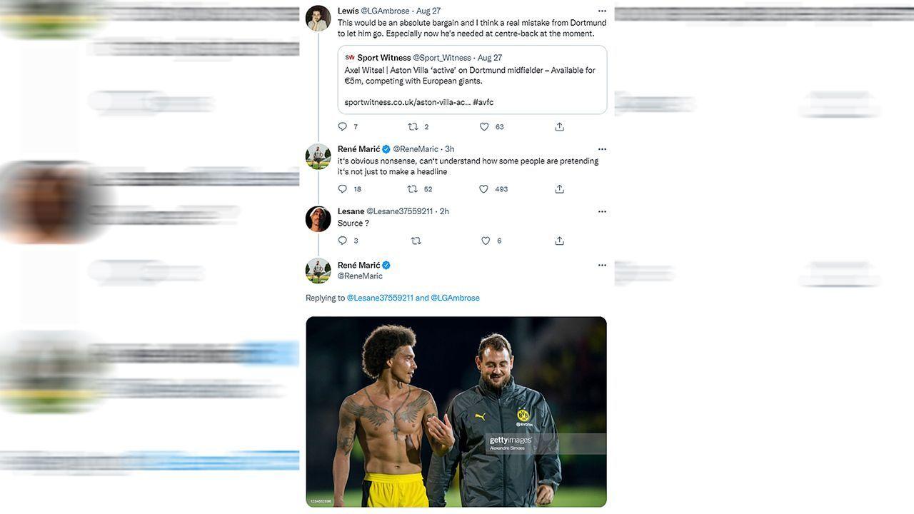 Witsel-Gerücht: BVB-Co-Trainer Maric lässt Twitter-User auflaufen - Bildquelle: twitter@ReneMaric