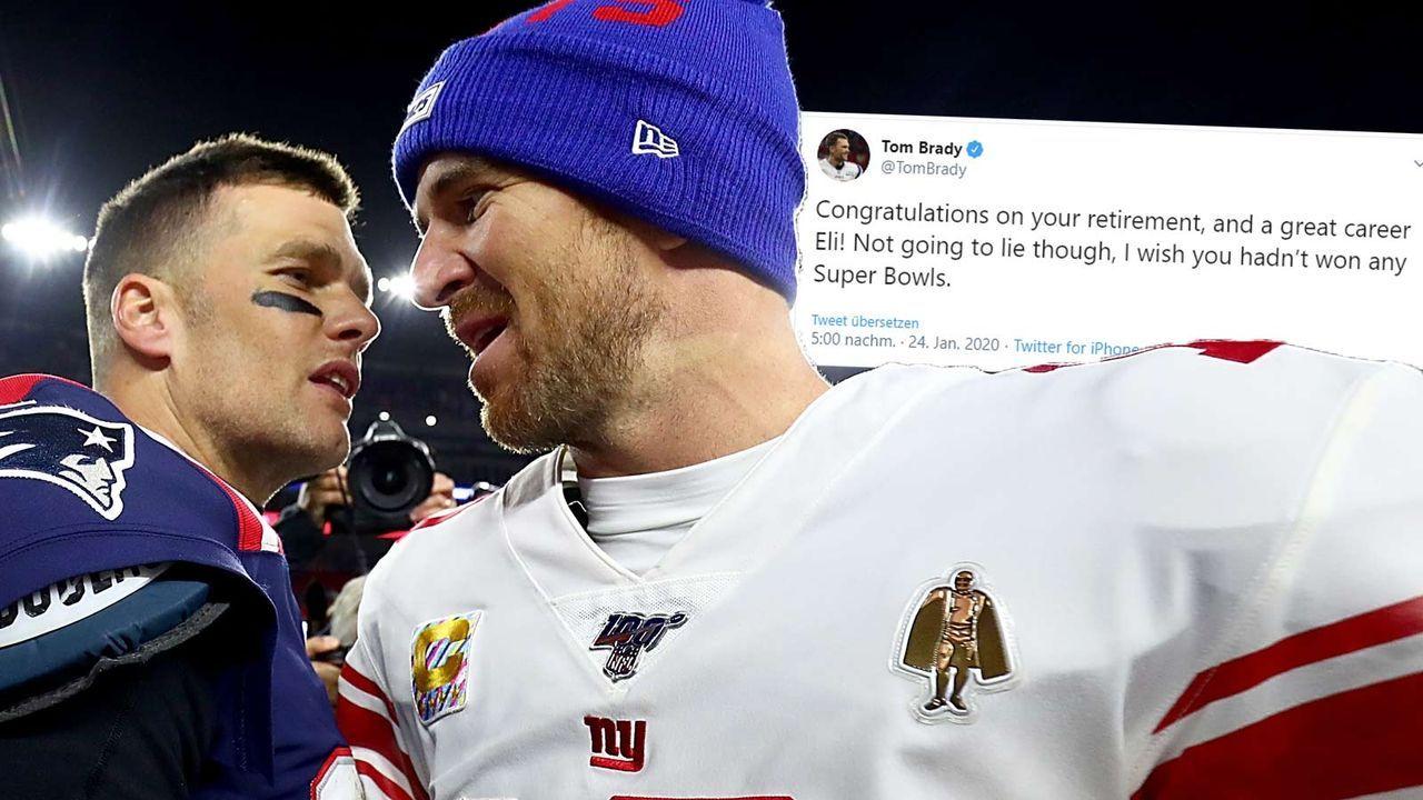 Tom Brady verabschiedet Eli Manning mit Gag in den Ruhestand - Bildquelle: 2019 Getty Images
