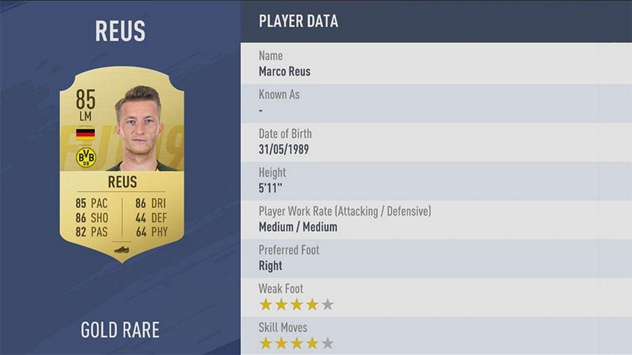 Marco Reus - Rating: 85 - Bildquelle: EA Sports